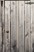 Weathered wooden door with hinge — Stock Photo