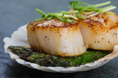 Sauteed scallops on the shell with asparagus — Stock Photo