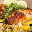 Lemon chicken with rice and roasted corn — Stock Photo #24950949