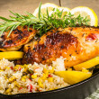 Lemon chicken with rice and roasted corn — Stock Photo #25422293