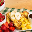 French toast with fruit and coffee - Stock Photo