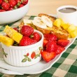 French toast with fruit and coffee — Stock Photo