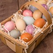 Stock Photo: Naturally dyed Easter eggs for holiday