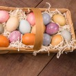 Naturally dyed Easter eggs for holiday - 图库照片