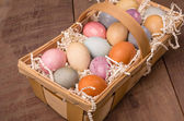 Naturally dyed Easter eggs for holiday — Stock Photo