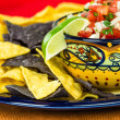 Bowl of spicy salsand corn chips — Stock Photo #26748117