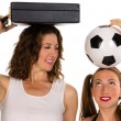 Business woman and soccer player — Stock Photo