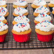 Stock Photo: Cupcakes decorated for Fourth of July