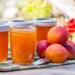 Stock Photo: Homemade apricot jam or preserves