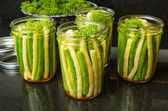 Jars of fresh yellow and green beans for canning — Stock Photo