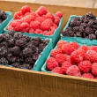 Stock Photo: Wooden box with baskets of berries