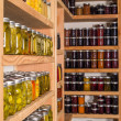Storage shelves with canned food — Stock Photo #30012123