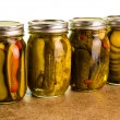 Homemade pickles in mason jars — Stock Photo