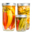 Stock Photo: Preserved peppers in mason jars