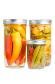 Preserved peppers in mason jars — Stock Photo