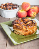 Apple bread pudding with raisins — Stock Photo