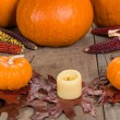 Fall decorative display with pumkins — Stock Photo