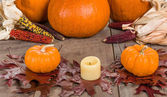 Fall decorative display with pumkins — Stock Photo