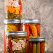 Pickled mixed vegetables home canning — Stock Photo #36424951