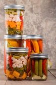 Pickled mixed vegetables home canning — Stock Photo