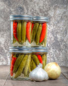 Pickled hot peppers home canning — Stock Photo