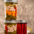 Pickled mixed vegetables home canning — Stock Photo #36520071