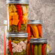 Pickled mixed vegetables home canning — Stock Photo #36520259