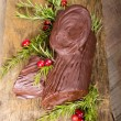 Stock Photo: Chocolate Yule log with cranberries