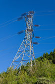 Electrical transmission tower to support power lines — Stock Photo