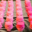 Pink molded mint candies in rows — Stock Photo #37988685