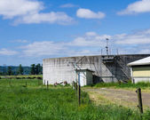 Concrete liquid manure storage tank — Stock Photo