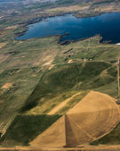 Aerial view of agricultural fields — Foto de Stock