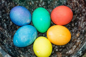 Bowl with dyed hard boiled eggs — Stock Photo