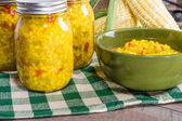 Bowl of fresh corn relish with corn — Stock Photo
