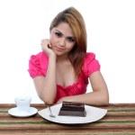 młode azjatyckie kobiety gotowe do jedzenia to bułka z masłem — Zdjęcie stockowe