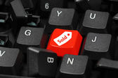 Sold icon on keyboard showing business or finance concept — Stock Photo