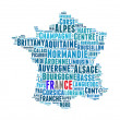 Stock Photo: France map and words cloud with larger cities