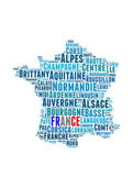 France map and words cloud with larger cities — Stock Photo