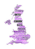 United Kingdom map and words cloud with larger cities — Stock Photo