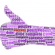 Illustration of the thumbs up symbol, which is composed of words — Stock Photo #18442731