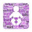 Stock Photo: Baby on board text on baby symbol graphic and arrangement conce