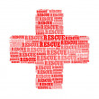 Rescue text on cross symbol graphic and arrangement concept — Stock Photo