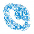 Call me text on telephone graphic and arrangement concept — Stock Photo