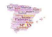 大きい都市とスペイン地図と単語雲 — ストック写真