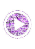 Party time text on play symbol graphic and arrangement concept — Stock Photo