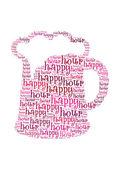 Texto de hora feliz en concepto gráfico y arreglo de cerveza — Foto de Stock