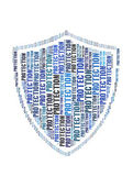 Protection text on shield graphic and arrangement concept — Stock Photo