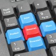 Four elements of marketing plan on blue, red and black keyboard — Stock Photo