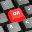 Ok acronym word on red and black keyboard button — Stock Photo