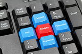 Four mineral for athlete on blue, red and black keyboard — Stock Photo